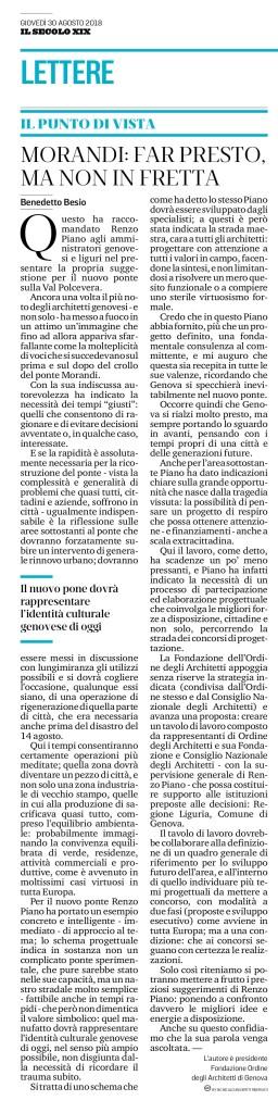 IL SECOLO XIX articolo Benedetto Besio_30 agosto 2018